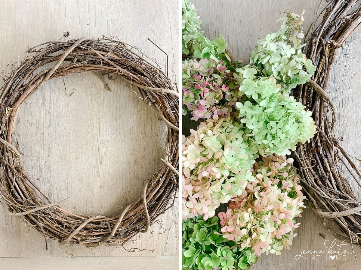 Grapevine wreath and fresh hydrangea flowers