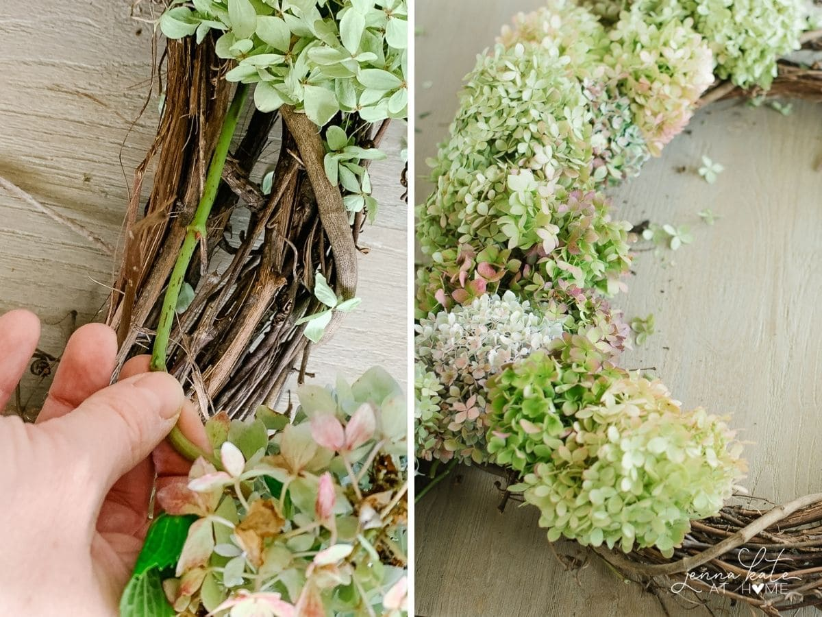 Inserting the hydrangea stems into the wreath