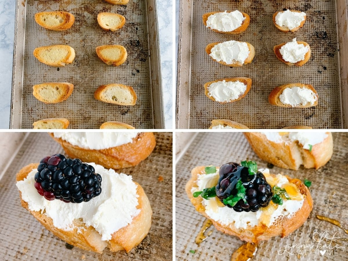 how to make blackberry and goat cheese crostini