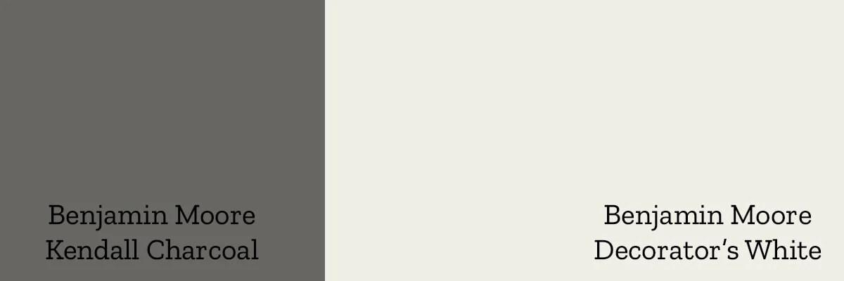 Benjamin Moore Kendall Charcoal and Benjamin Moore Decorator's White