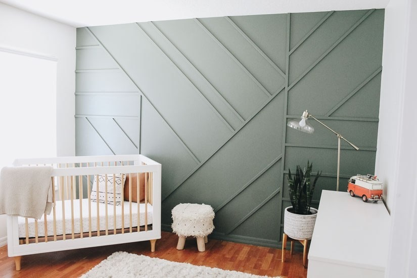 modern geometric wood accent wall