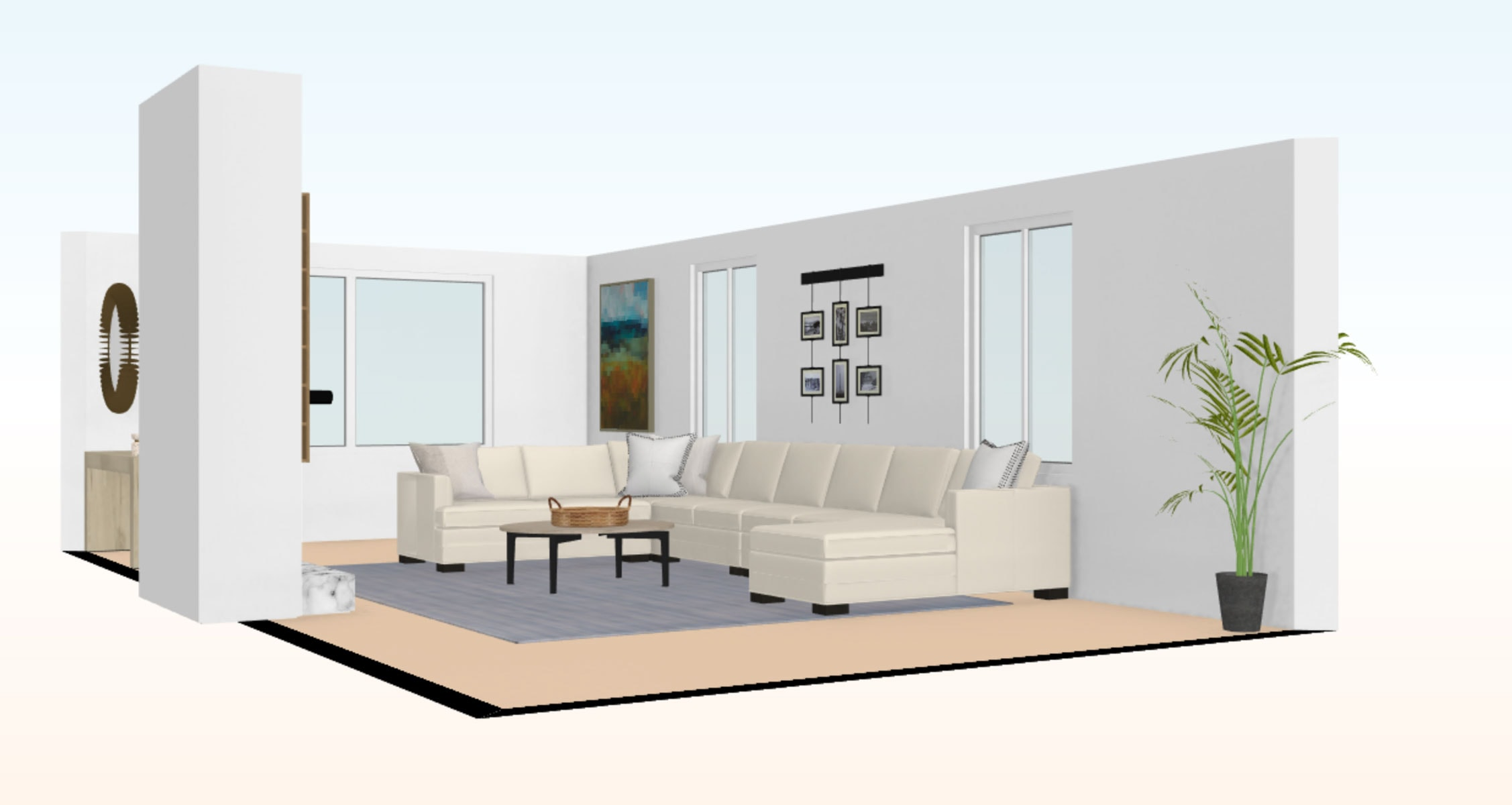 3d living room rendering to help with space planning and furniture layout