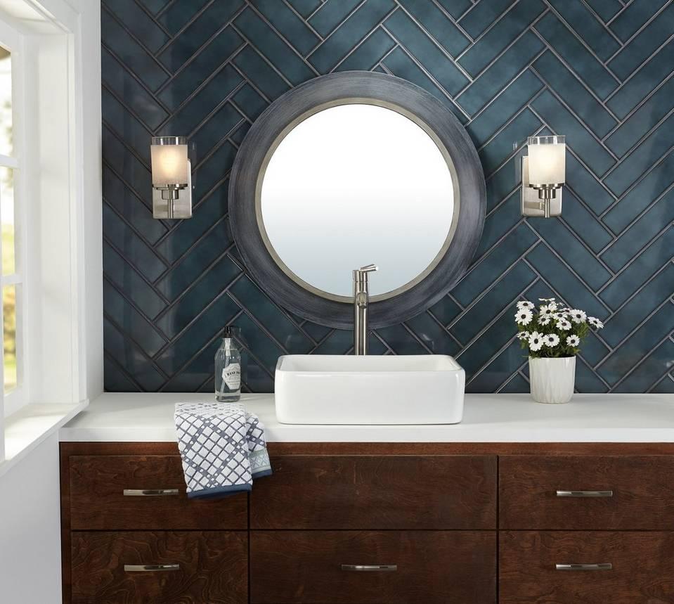 Dark tile above vanity in bathroom