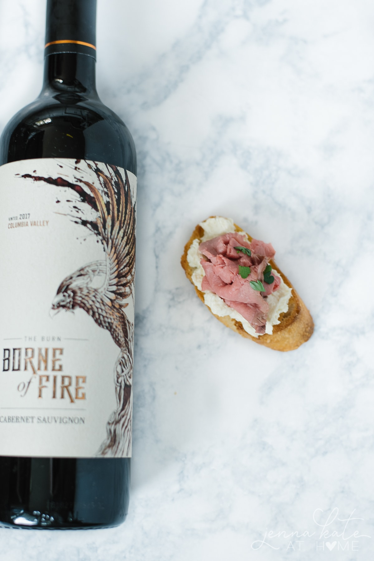 Red white paired with roast beef crostini