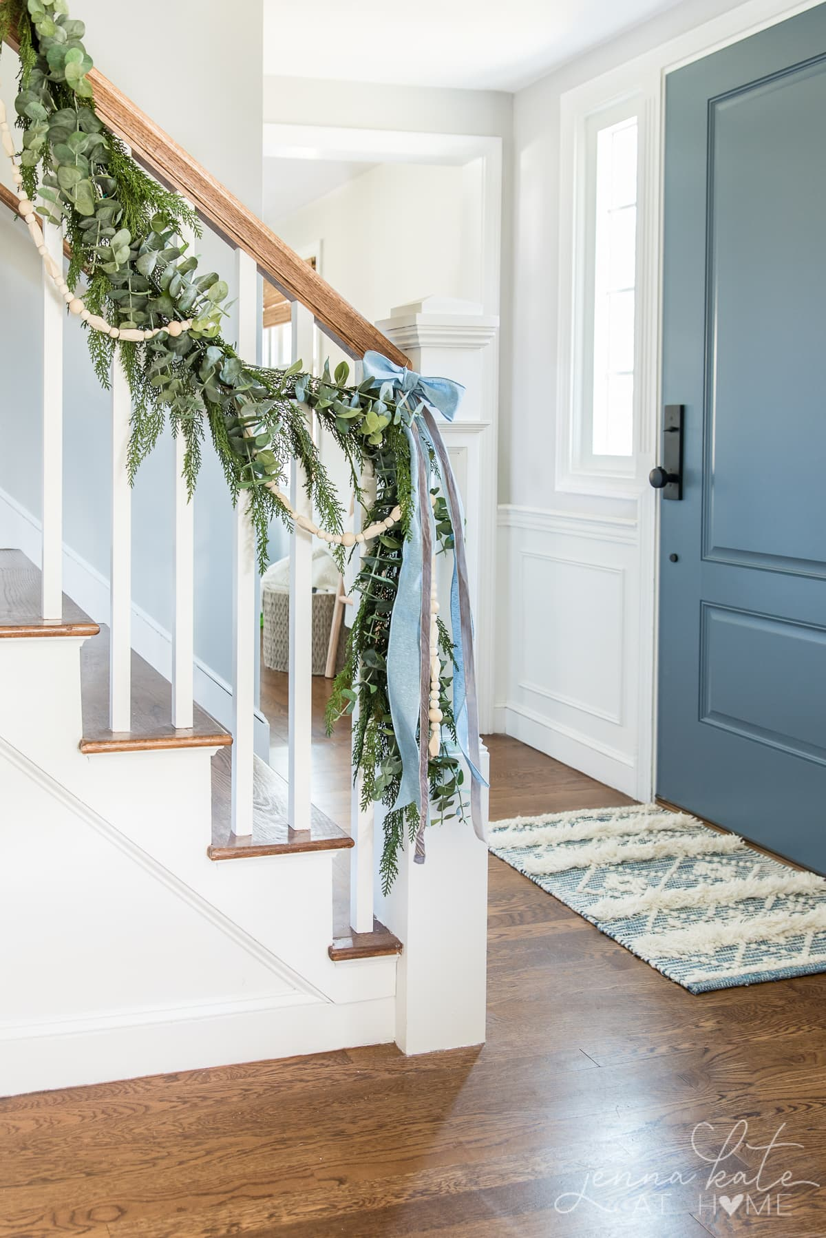 Hallway with garland on the banister