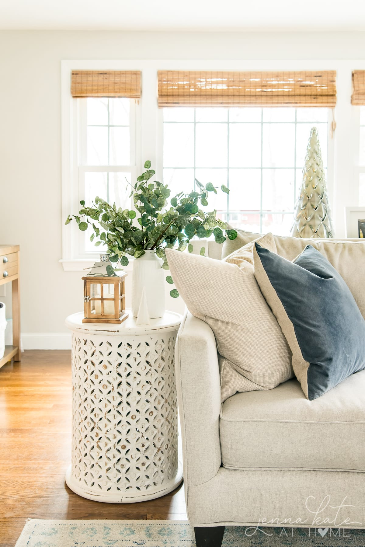 View of the couch with a  blue throw pillow and a side table with eucalyptus