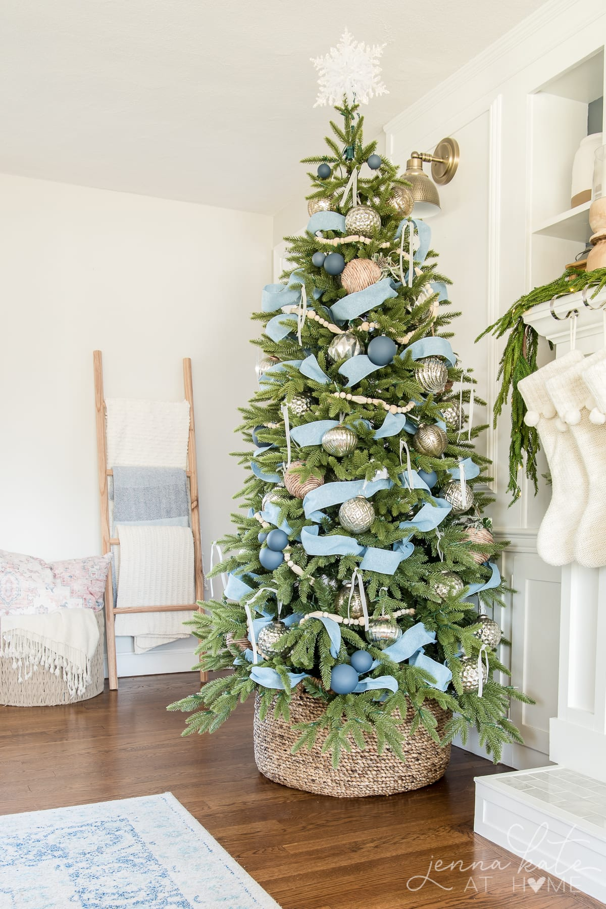 Artificial Christmas tree in a basket instead of a tree skirt or collar