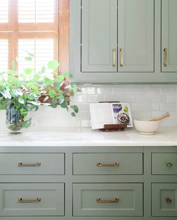 sherwin williams clary sage kitchen cabinets