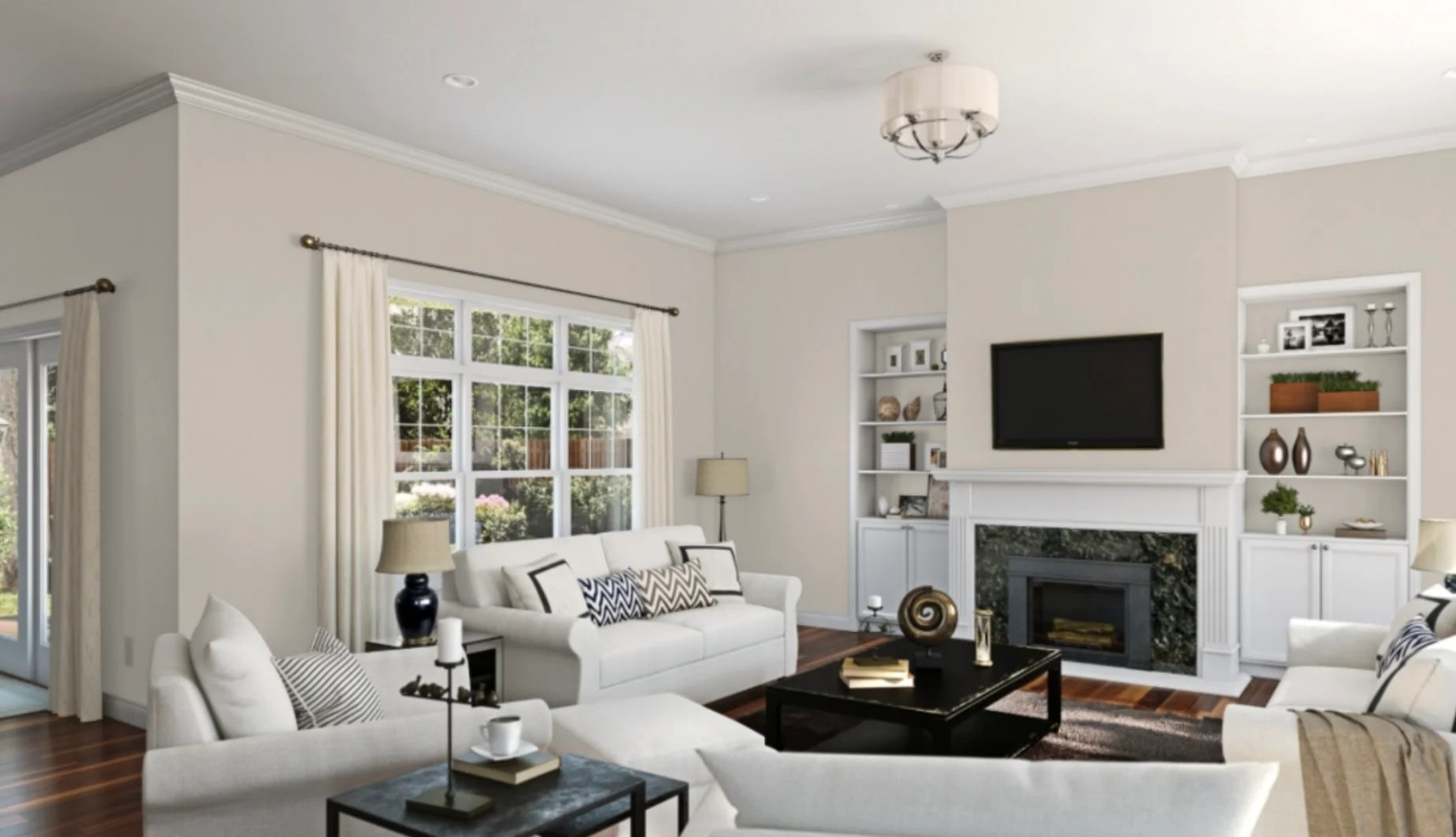 sherwin williams wordly gray painted living room
