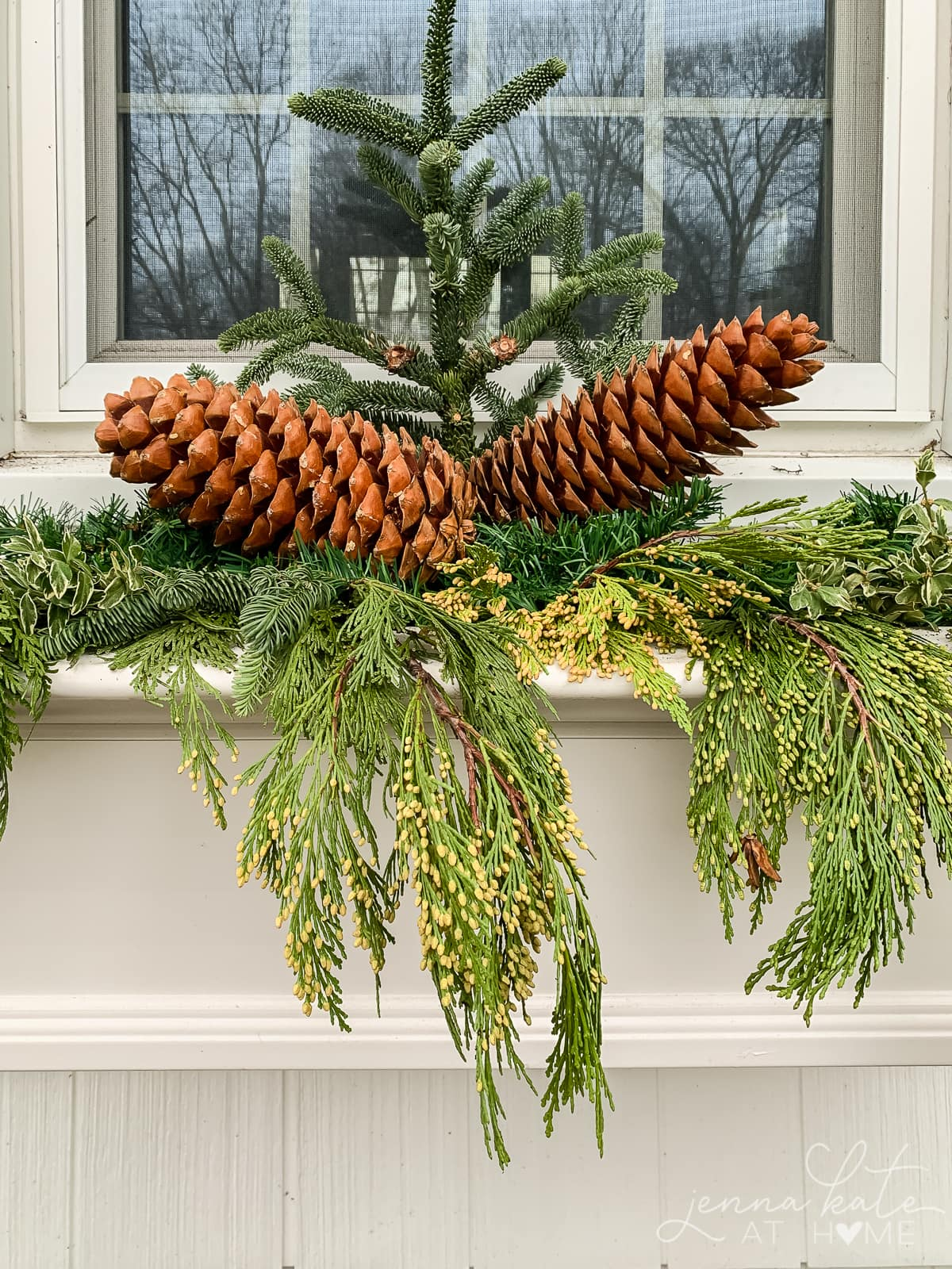 Large pinecones added to the window box arrangement