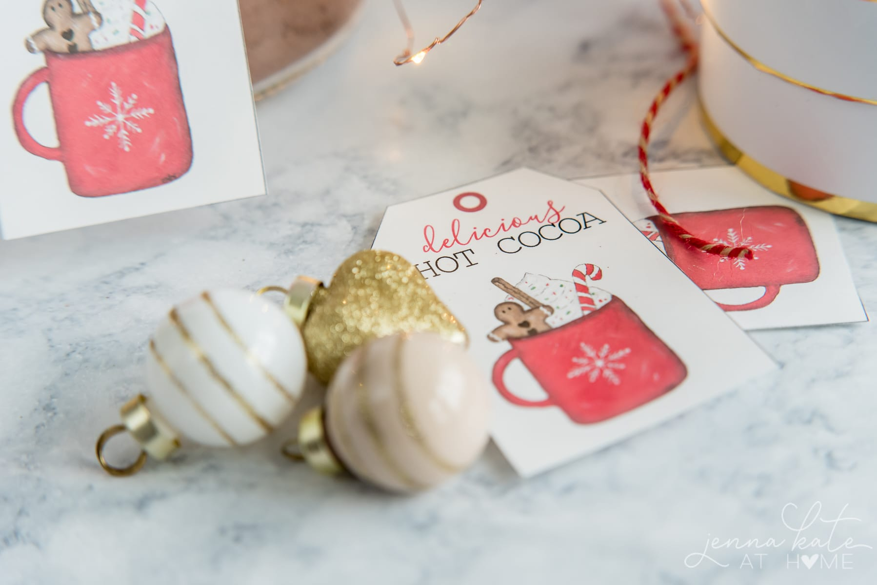Close up of the front of the hot cocoa gift tags