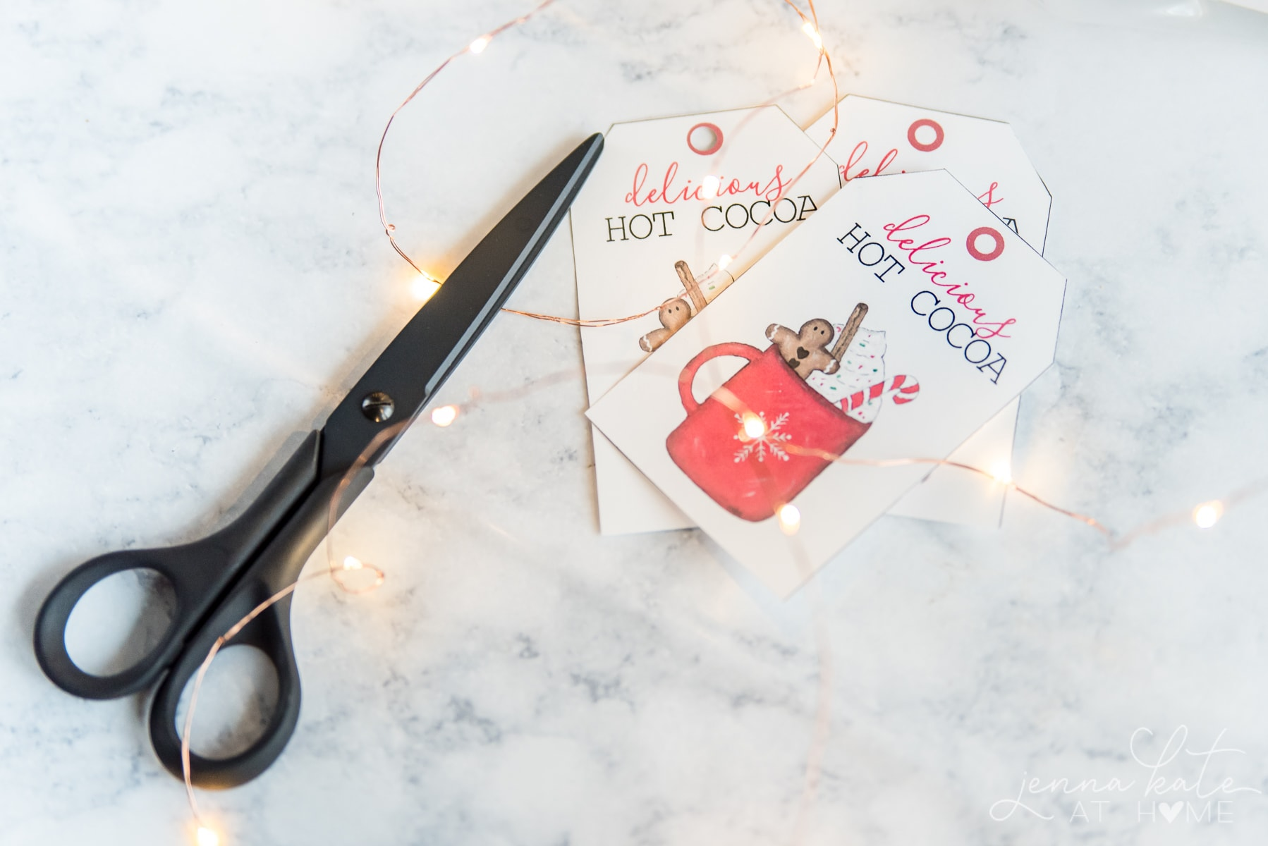 Printed gift tags cut out with a scissors