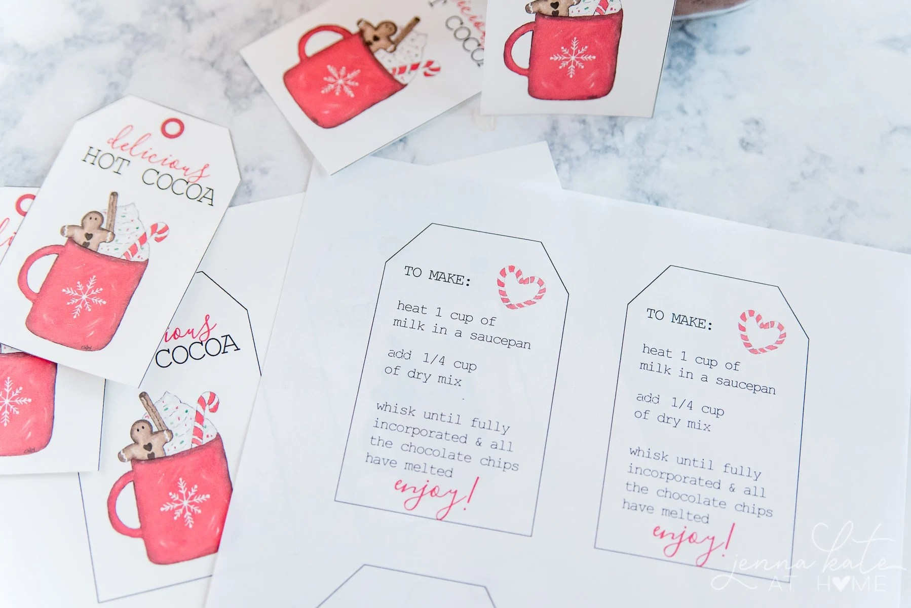 Back side of the printable gift tags