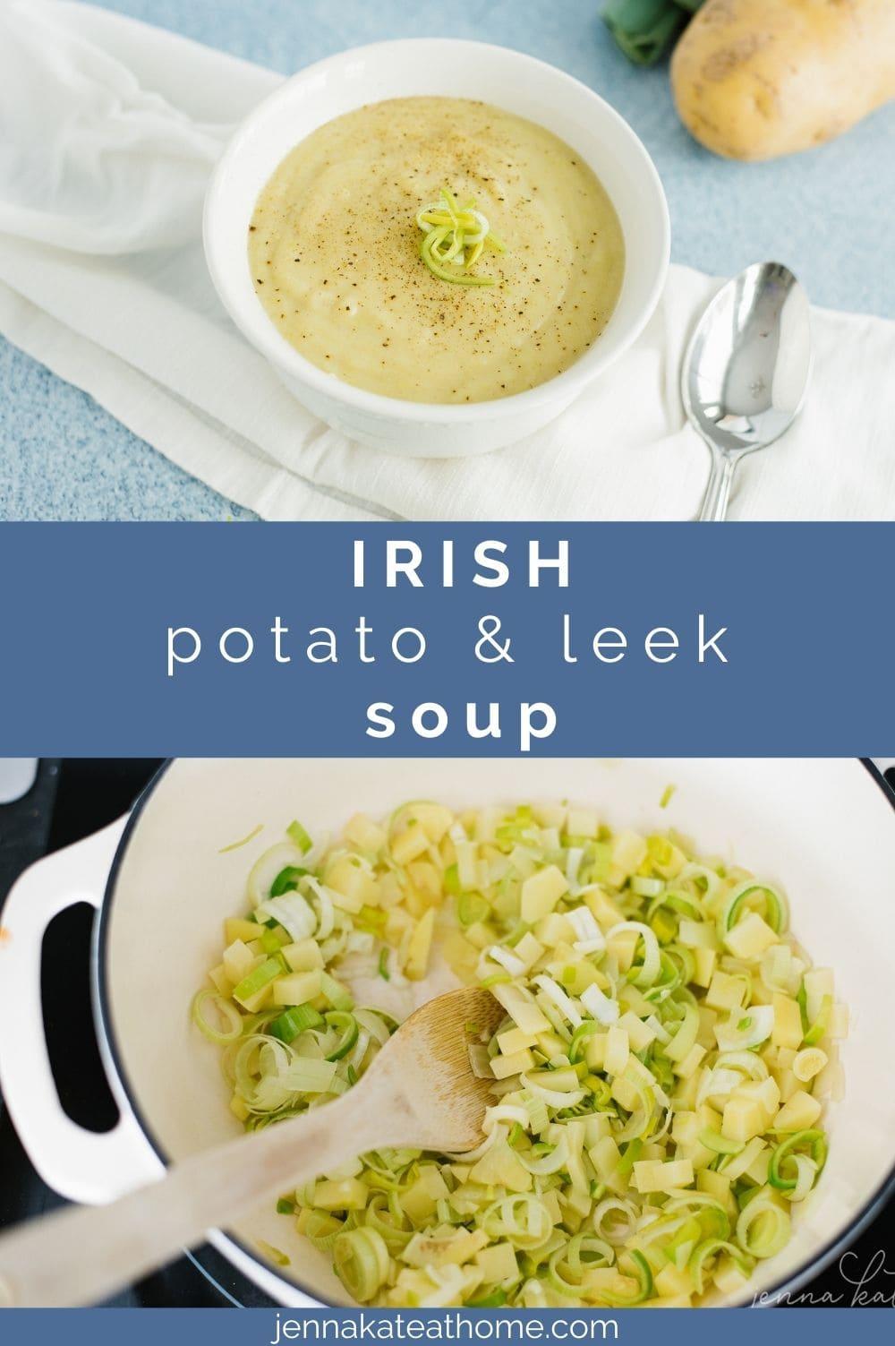 Irish potato and leek soup pin