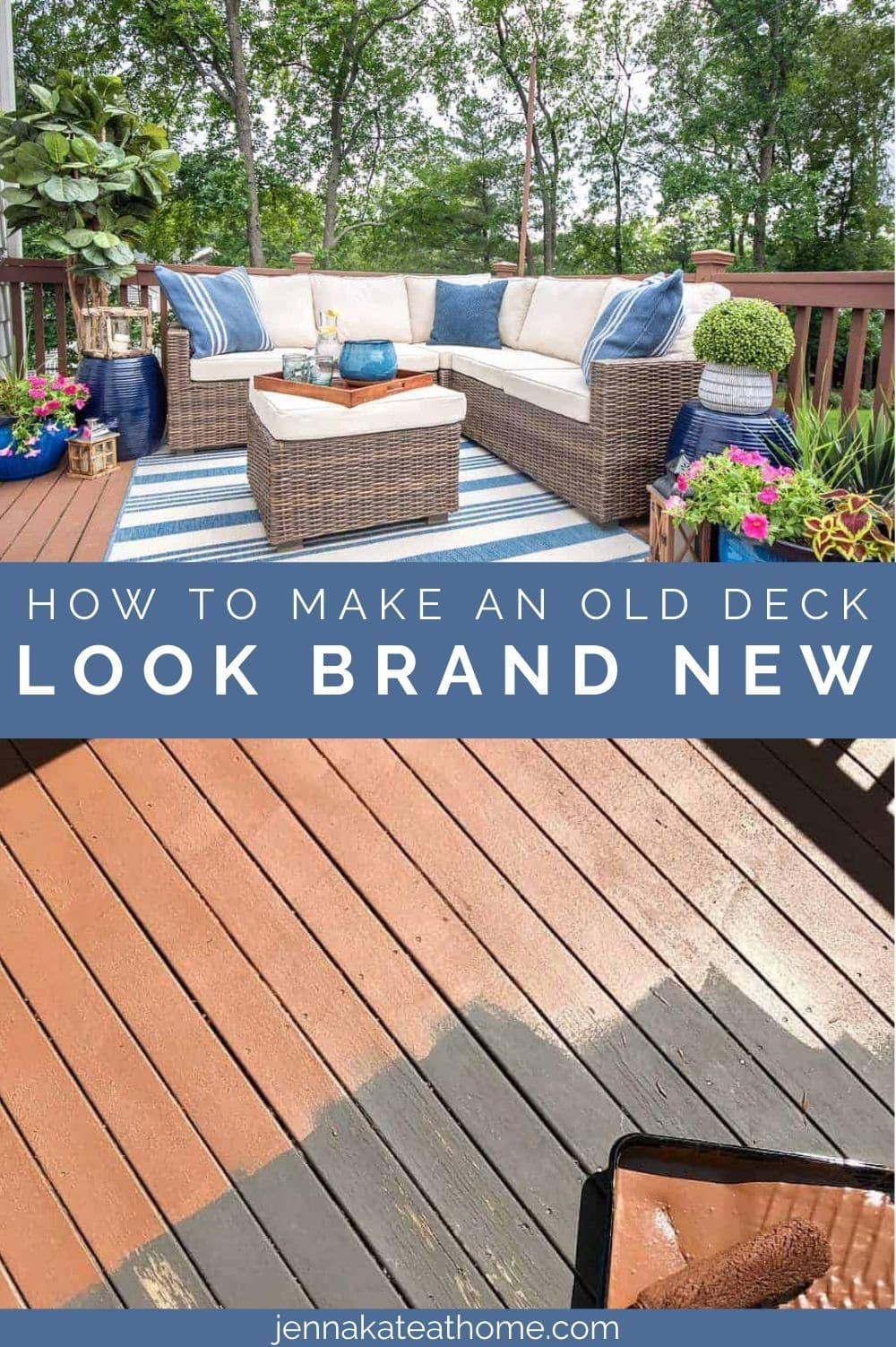 how to make an old deck look brand new pin