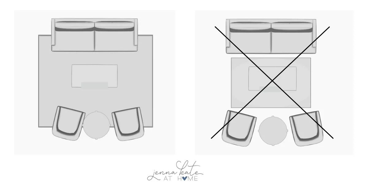 living room floorplans graphic with front legs of sofa and chairs sitting on the rug