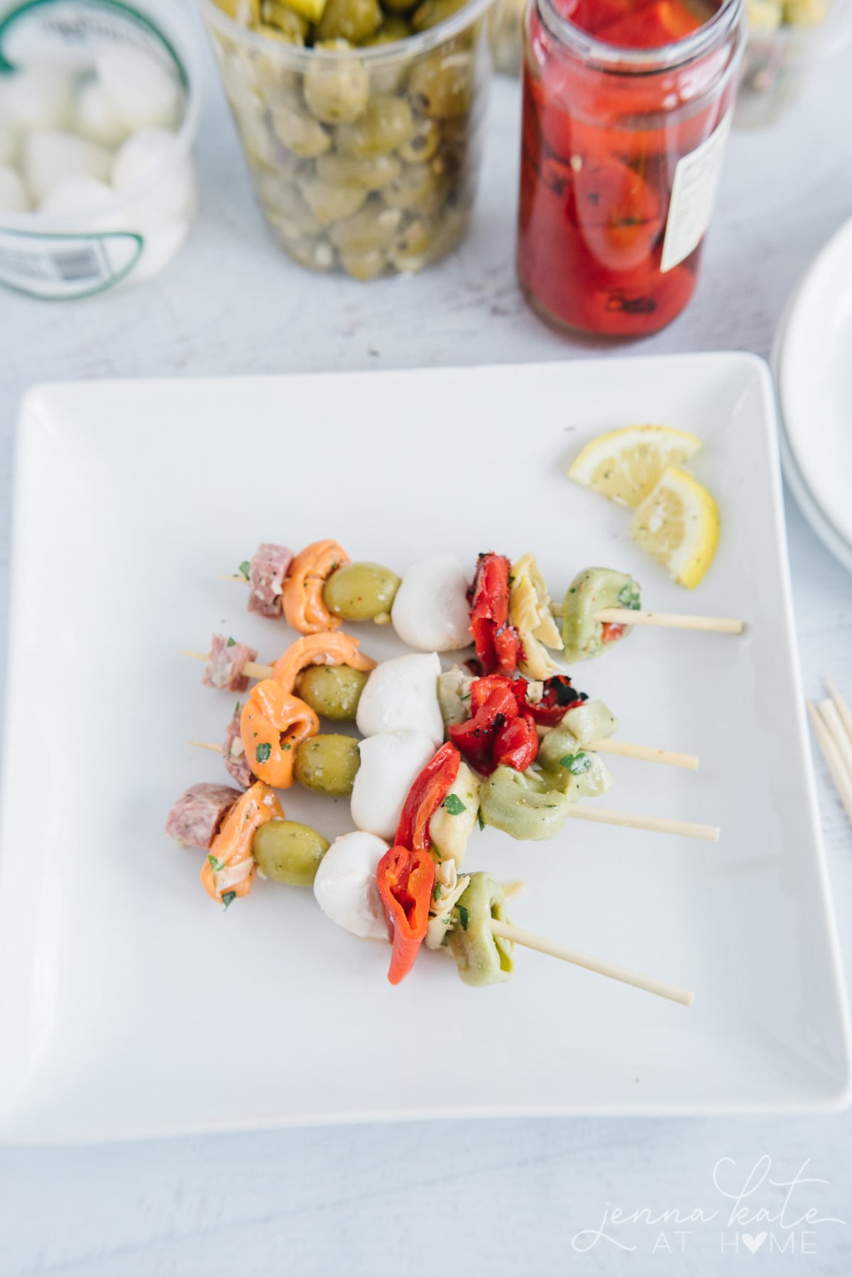 four finished skewers on a plate