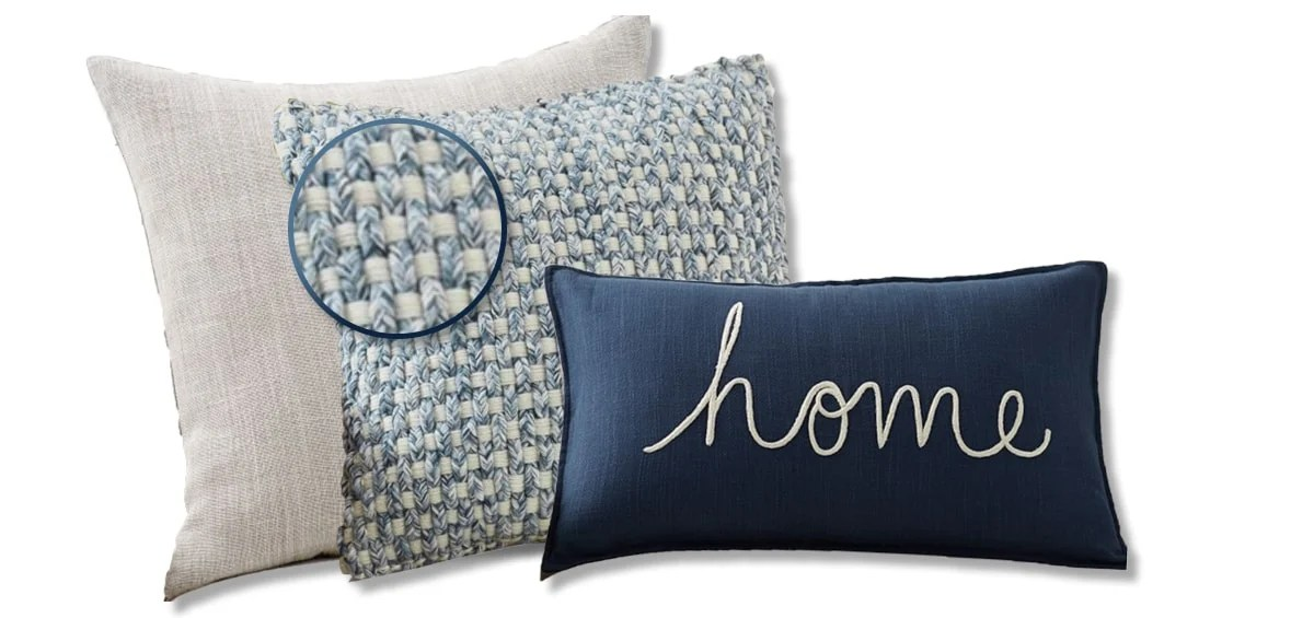 throw pillow pairing with a close up on the blue and cream colors in the dominant pattern pillow