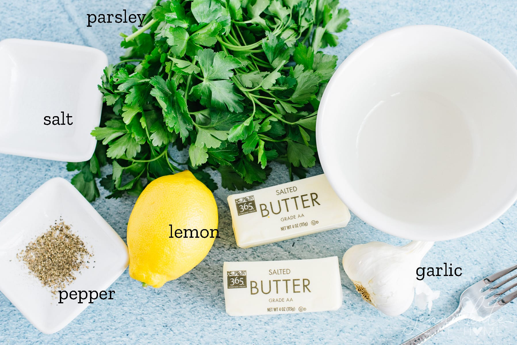 ingredients for the garlic herb butter