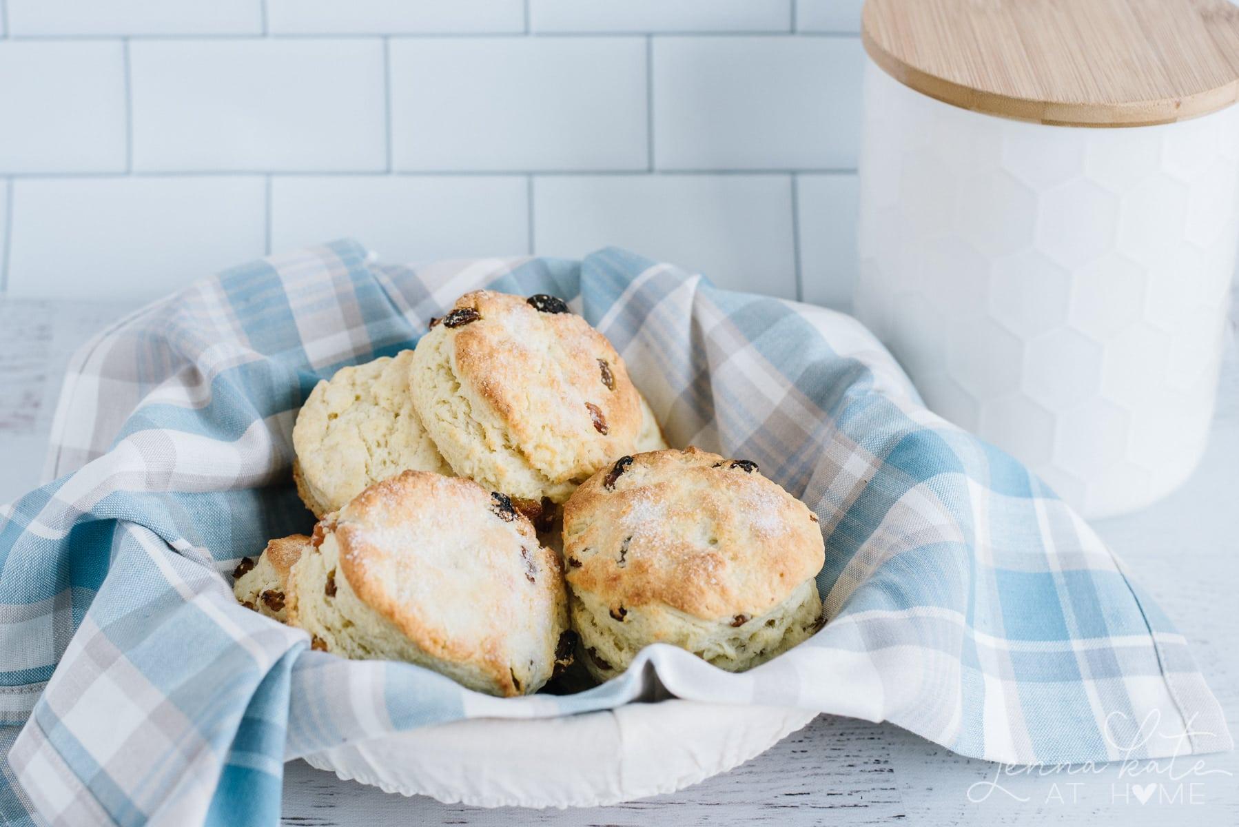 Basket of big fluffy scones