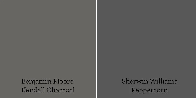 color swatch kendall charcoal versus sherwin williams peppercorn
