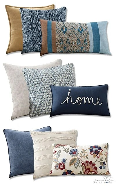 Three throw pillow combinations