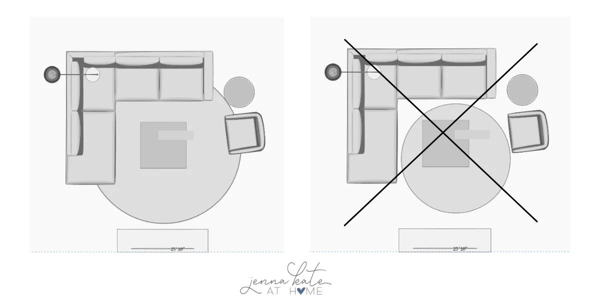 TV room floorplan graphic with front legs of furniture sitting on the rug