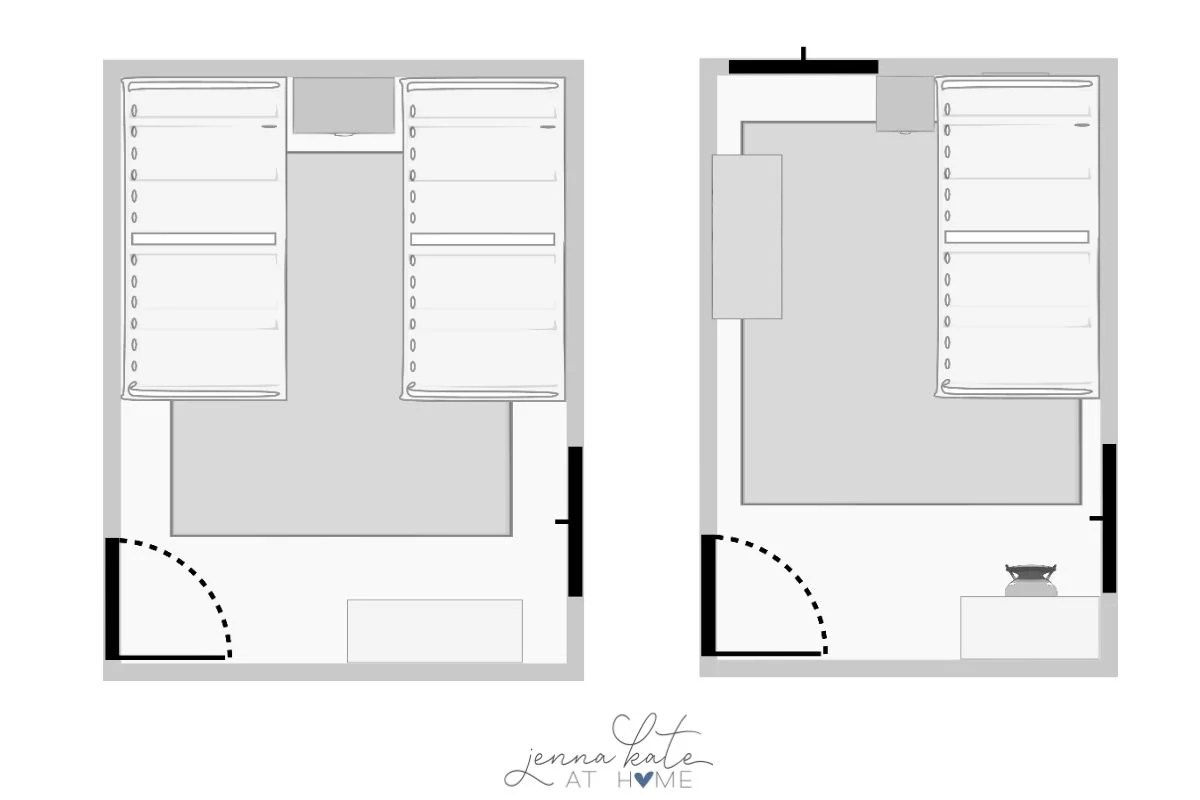 graphic with two different floorplans, showing rug placement options under a twin beds.