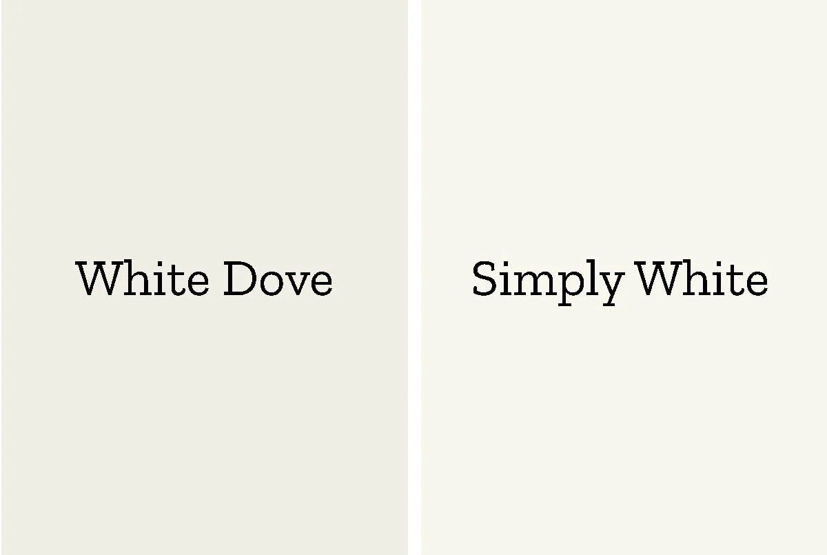 color comparison of whit dove to simply white