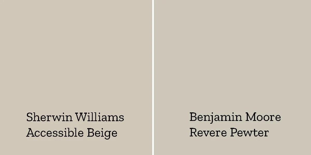 accessible beige versus revere pewter side by side color comparison
