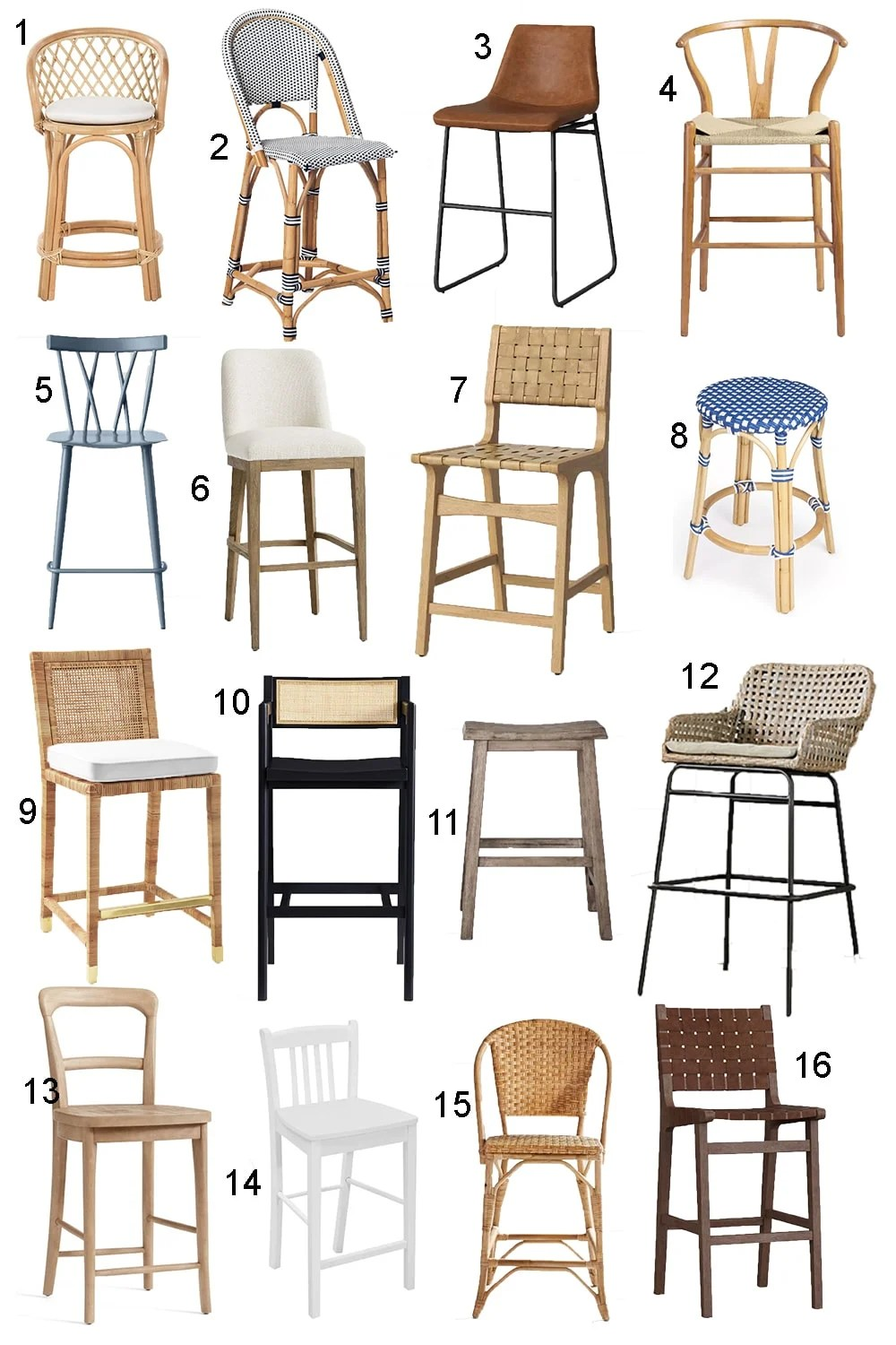 collage of 16 kitchen counter stools and chairs
