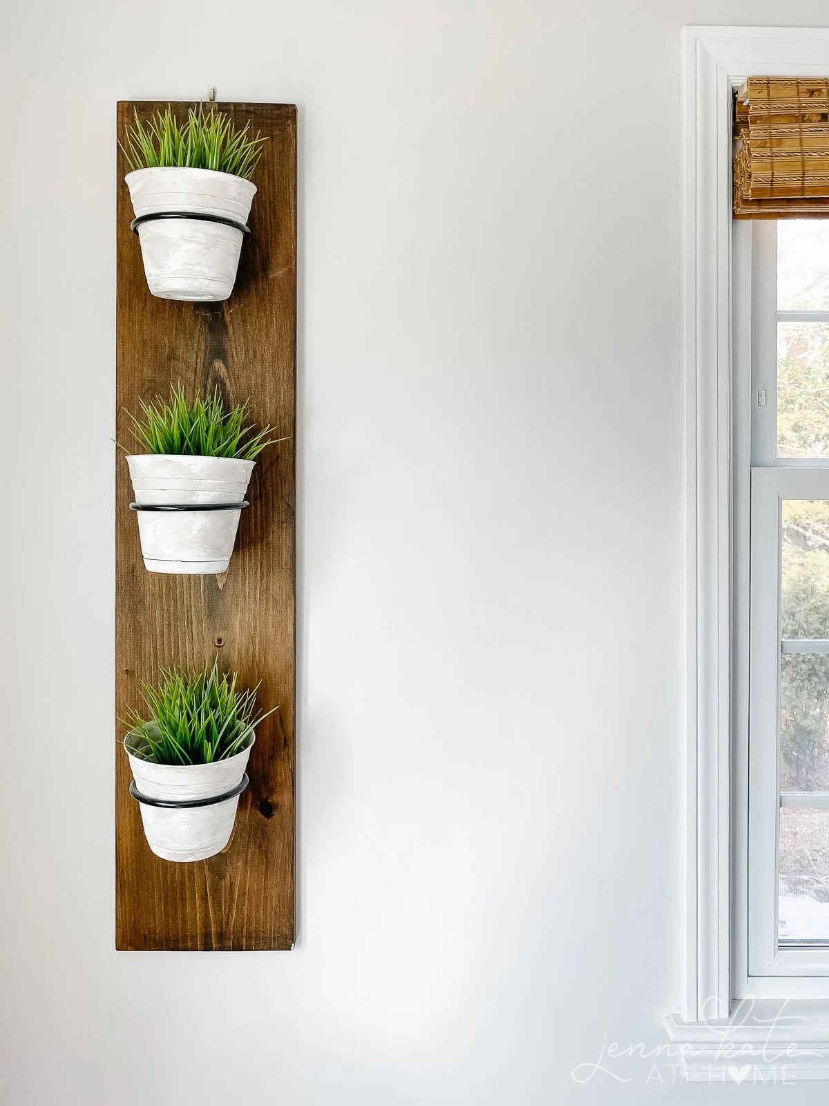 vertical plant holder with green grass plants