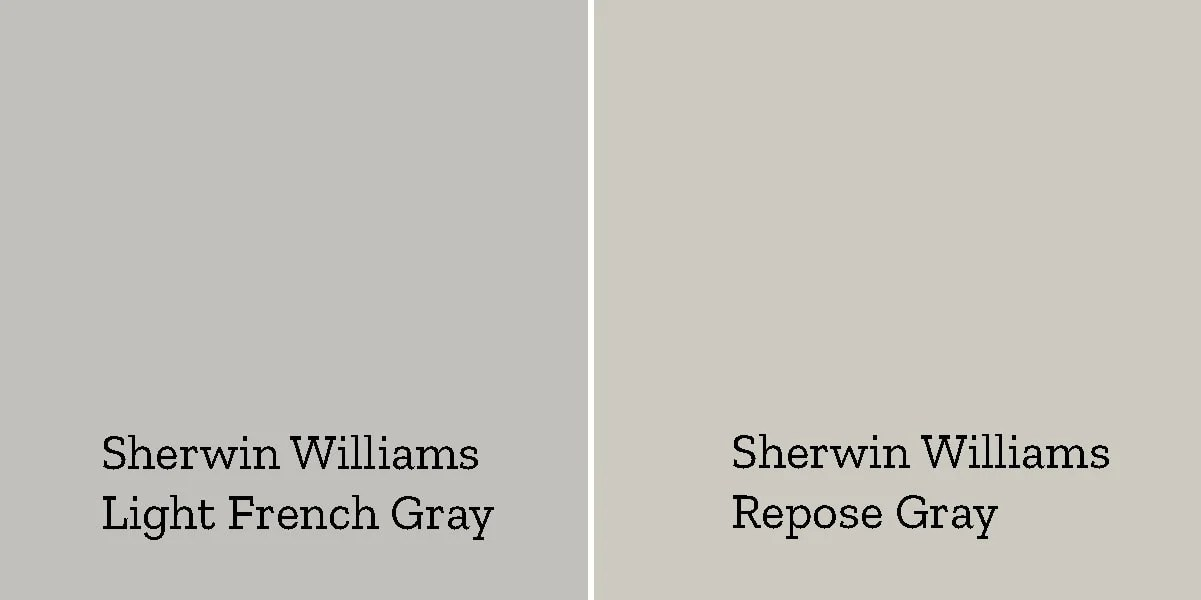comparison of sherwin williams light french gray and sherwin williams repose gray