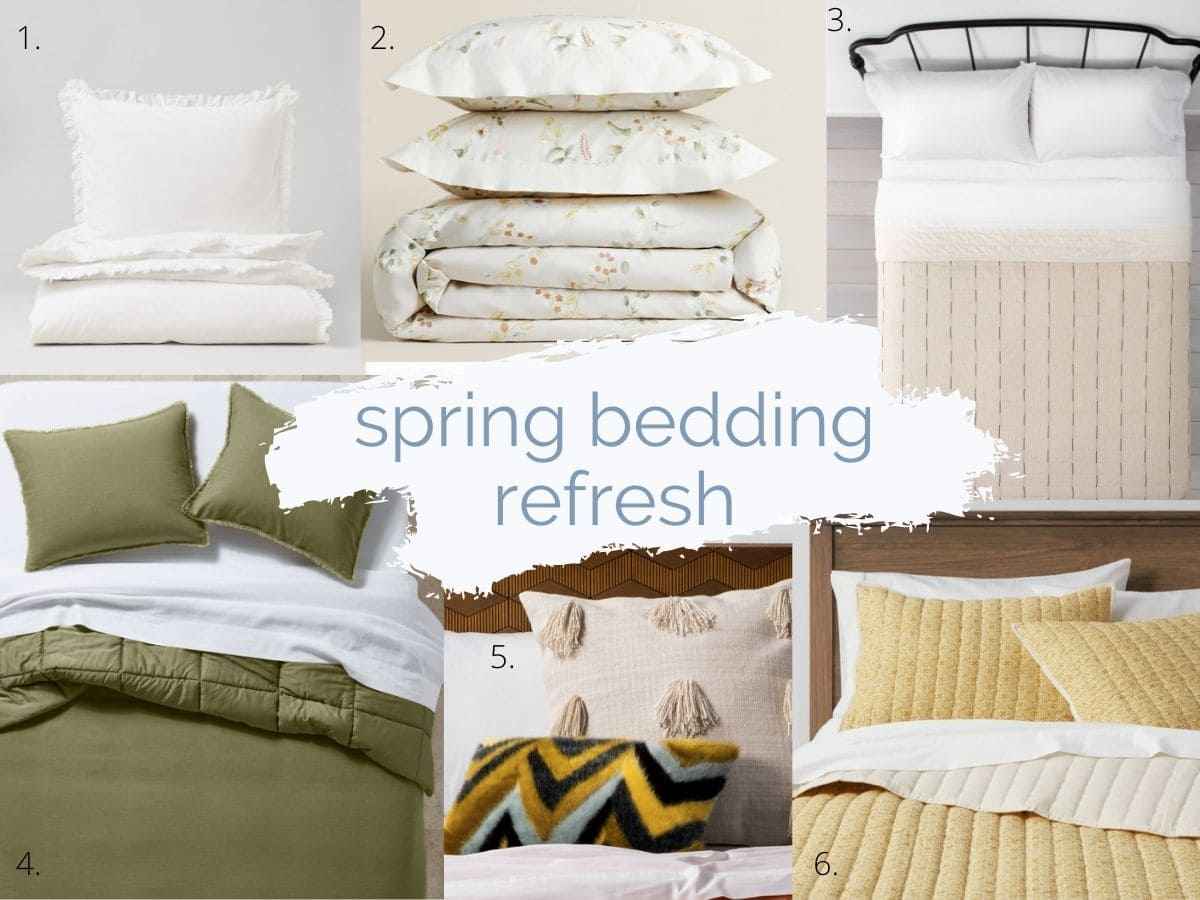 collage image with text that read spring bedding refresh