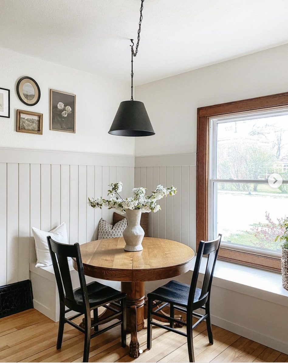 SW Accessible Beige painted wainscoting in a breakfast nook