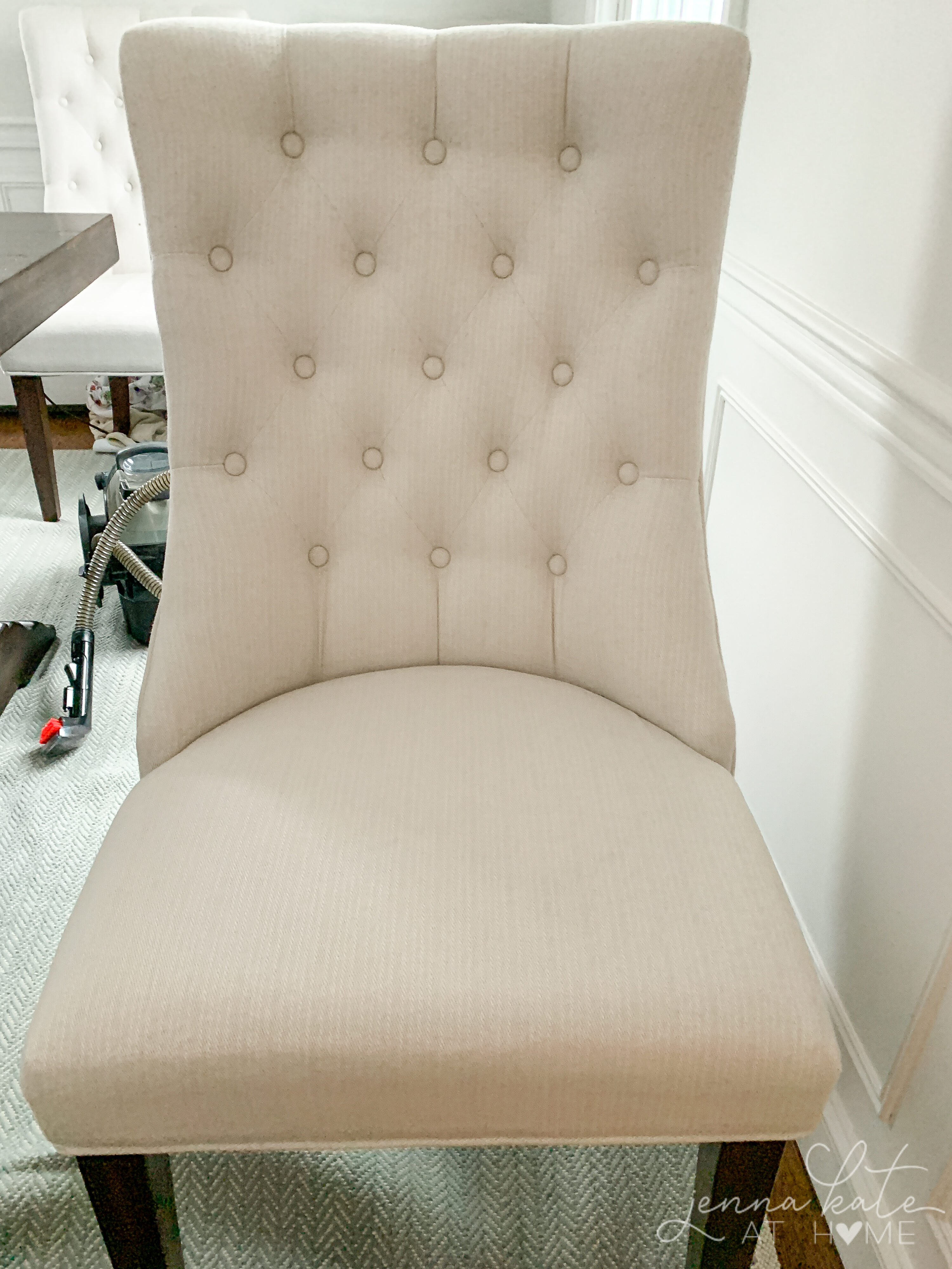cream upholstered dining room chair