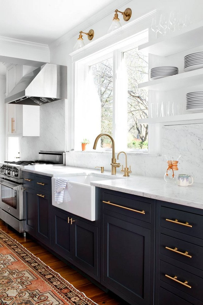 black kitchen base cabinets with white open shelving