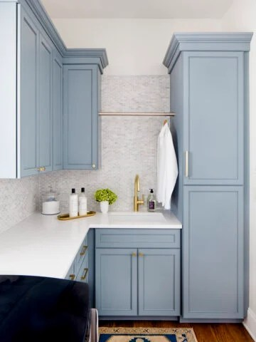 Benjamin Moore Van Courtland Blue paint laundry room cabinets