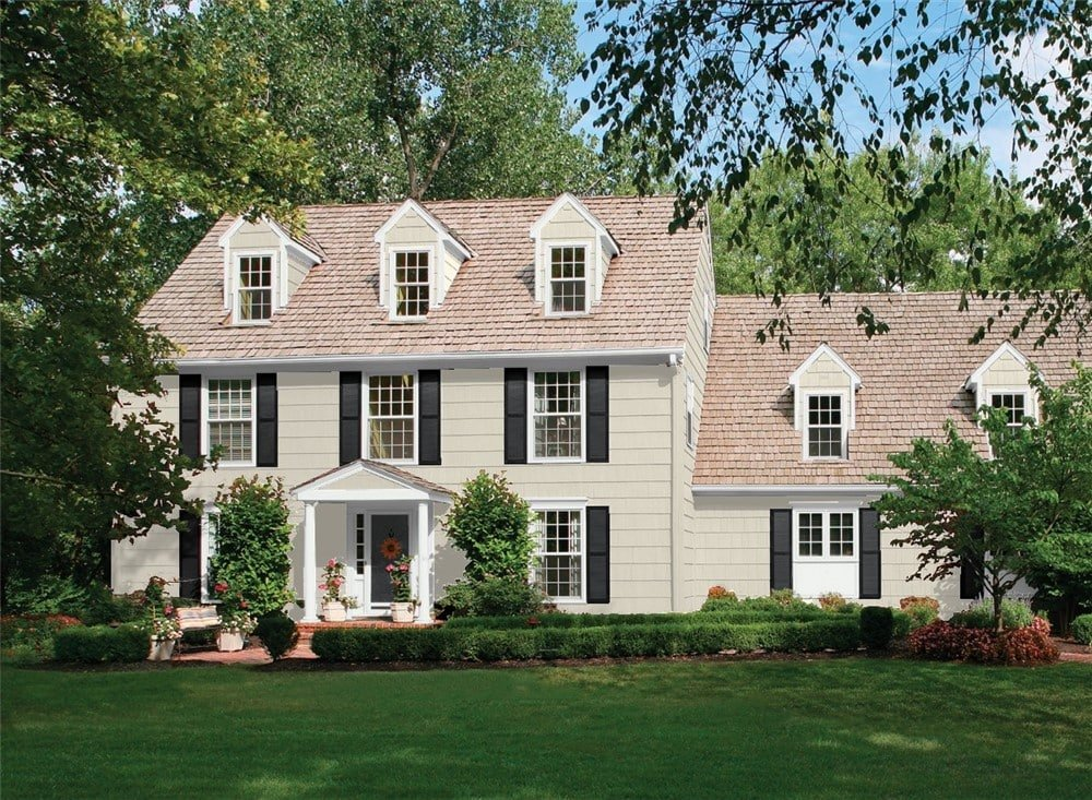 colonial style house with edgecomb gray siding