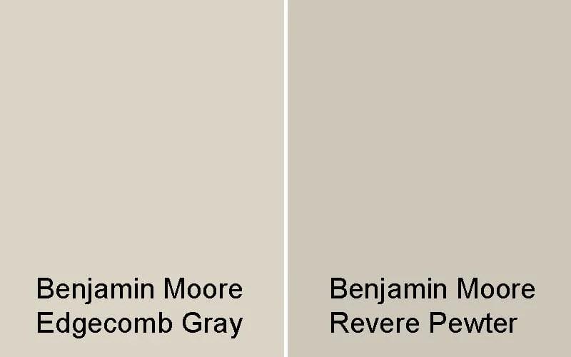 swatch comparison of edgecomb gray vs revere pewter