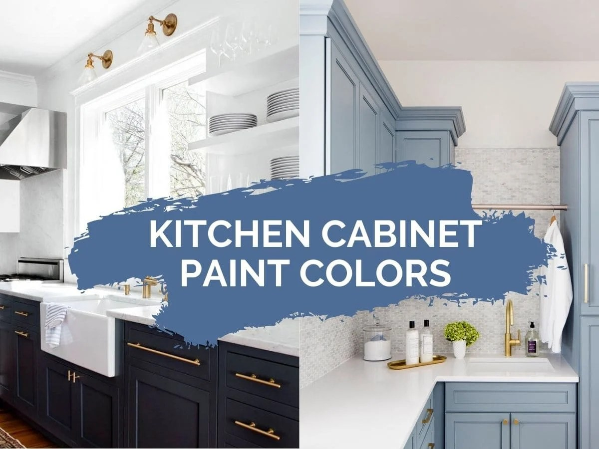 kitchen cabinet paint color ideas header image with text overlay
