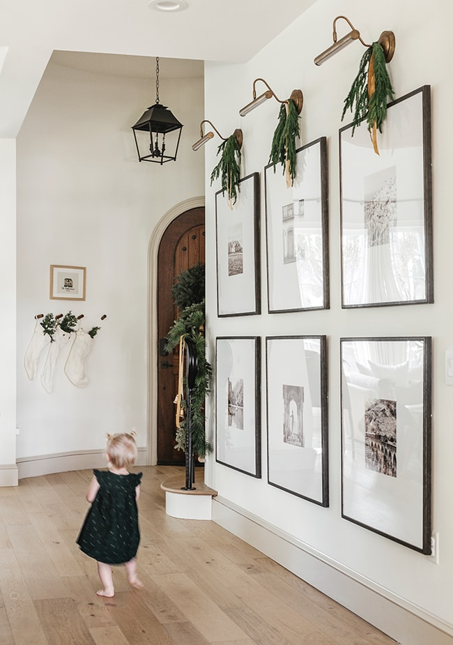 large wall with black and white photos