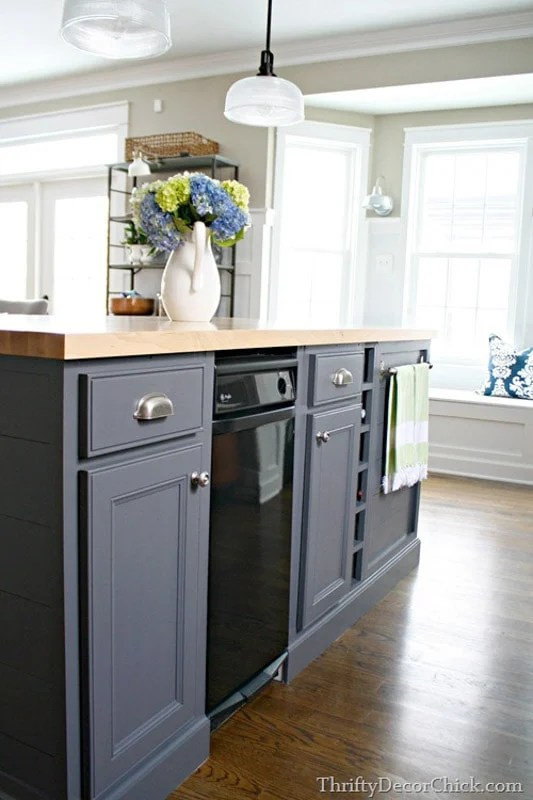 kitchen island cabinets in SW peppercorn