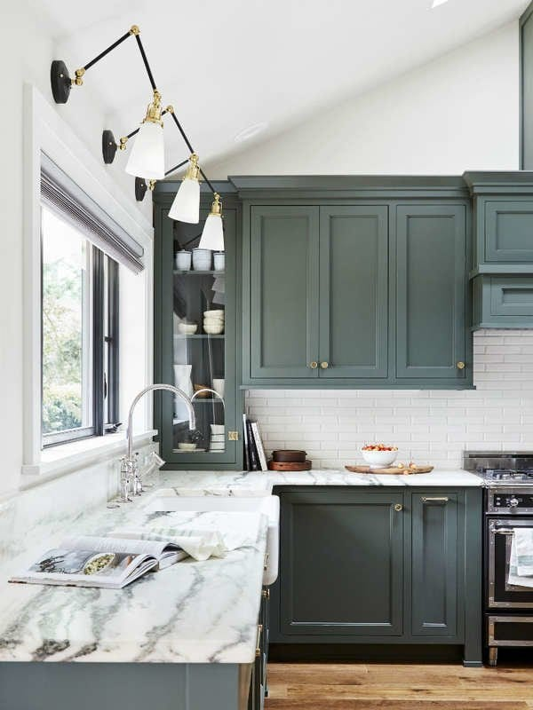 dark green kitchen cabinet paint color