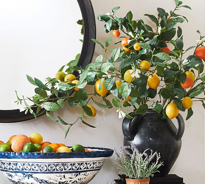 Black vase with lemon and orange stems