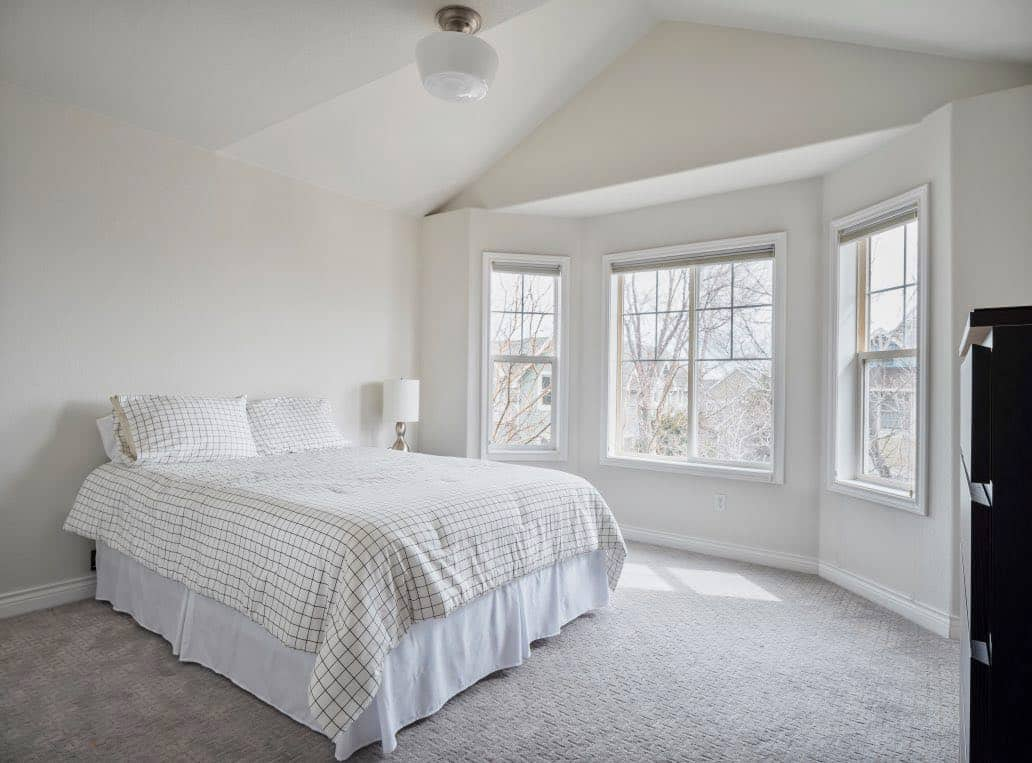 light and airy bedroom painted with BM classic gray
