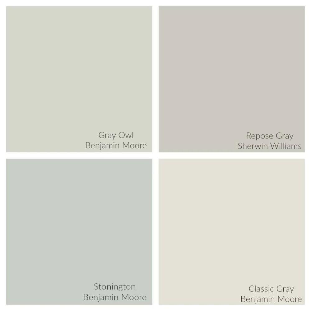 comparison of gray owl vs repose gray vs stonington gray vs classic gray