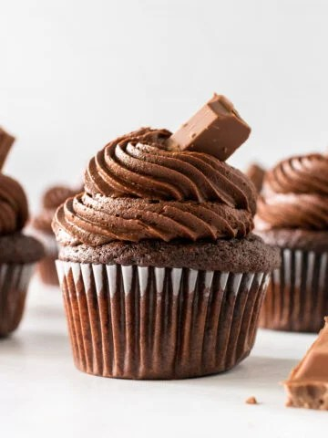 moist chocolate cupcake with buttercream frosting