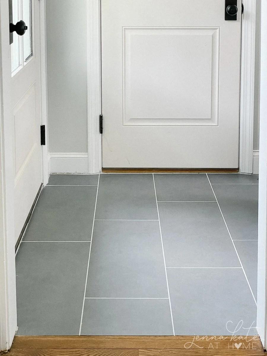 gray mudroom floor