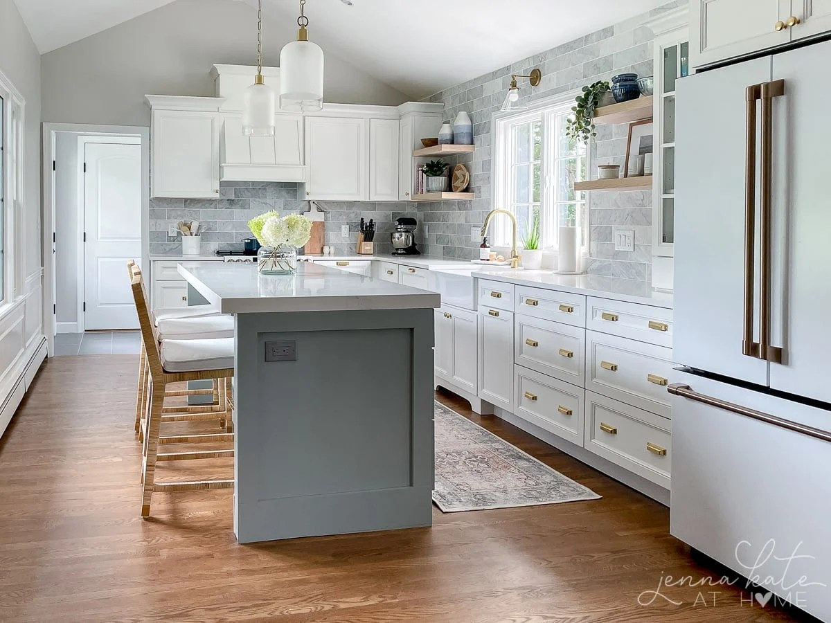 Remodeled kitchen with blue-gray painted island